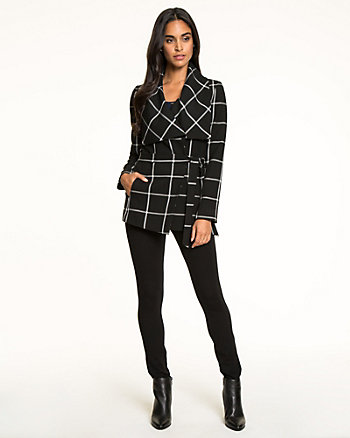 Windowpane Double Weave Wrap Blazer