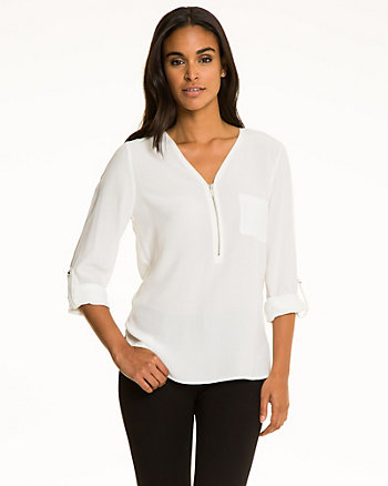 Viscose Zip V-Neck Blouse