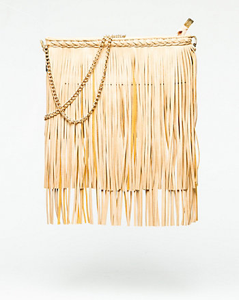 Leather-Like Fringe Crossbody Bag