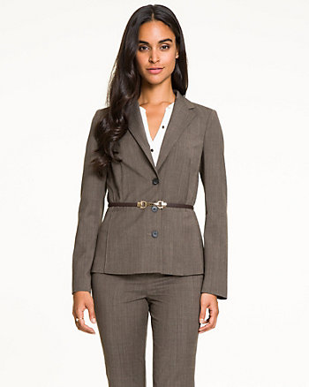 Stretch Woven Notch Collar Blazer
