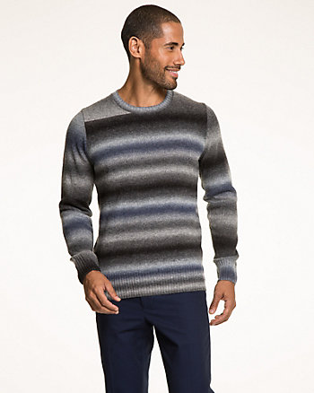 Wool Blend Stripe Crew Neck Sweater