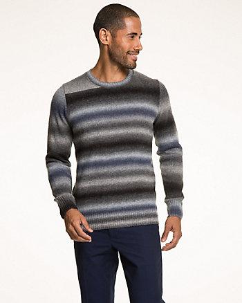 Wool Blend Stripe Crew Neck Sweater