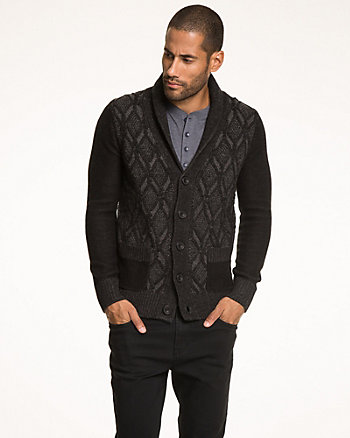 Tonal Cotton Blend Shawl Collar Cardigan