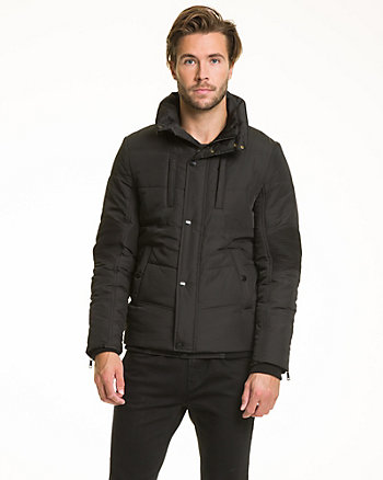 Woven Funnel Neck Puffer Jacket