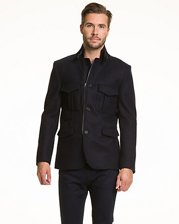 Melton & Faux Leather Slim Fit Blazer