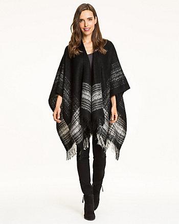 Stripe Knit Acrylic Poncho