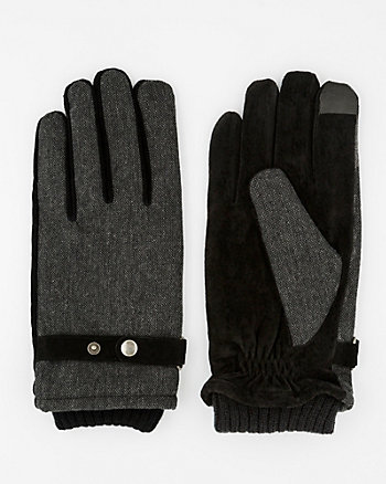 Textured Suede Touchscreen Gloves
