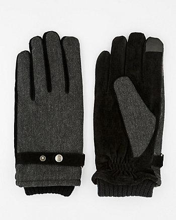 Textured Suede Touchscreen Gloves