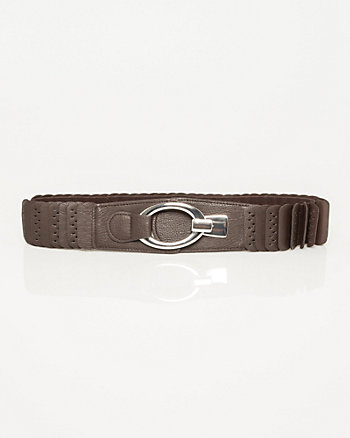 Faux Leather & Elastic Belt