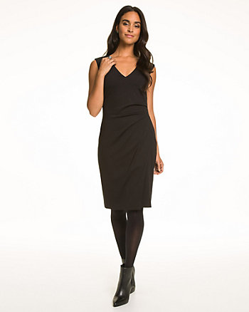 Ponte V-Neck Front Slit Dress