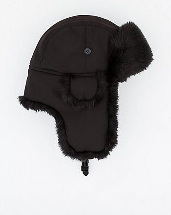 Nylon & Faux Fur Trapper Hat