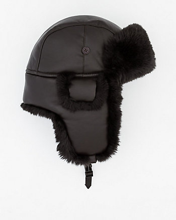 Leather-Like Trapper Hat with Faux Fur Trim