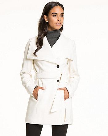 Wool Blend Melton Wrap Coat