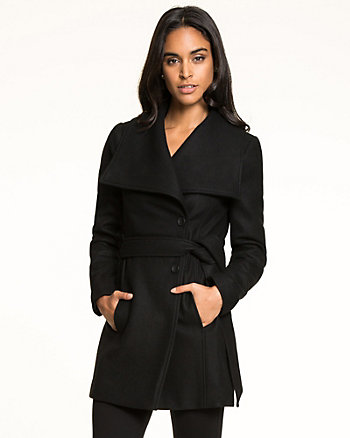 Wool Blend Melton Wrap Coat