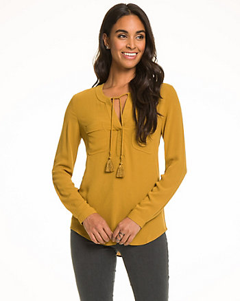 Textured Crêpe V-Neck Tie Blouse