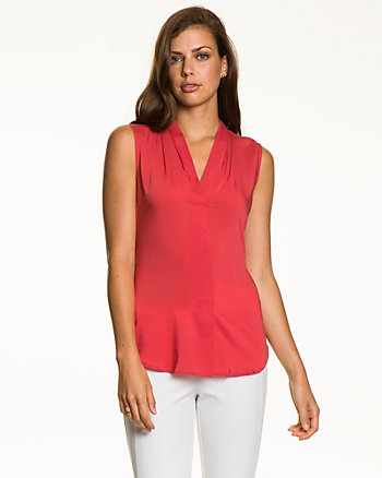 Viscose Blend Pleated Blouse