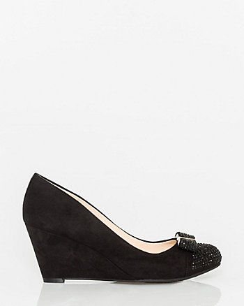 Suede-Like Round Toe Wedge