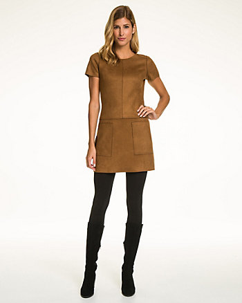 Faux Suede Crew Neck Mini Dress