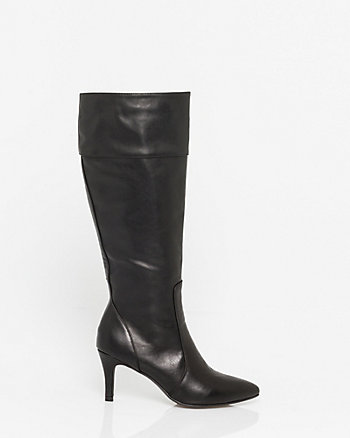 Leather-Like Pointy Toe Knee-High Boot