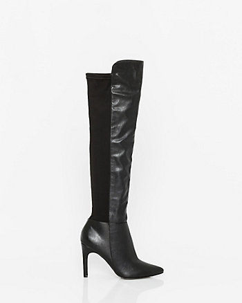 Leather-Like & Lycra Over-The-Knee Boot