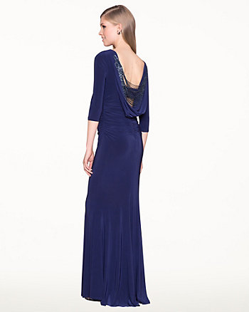 Knit Embellished Cowl-Back Fitted Gown