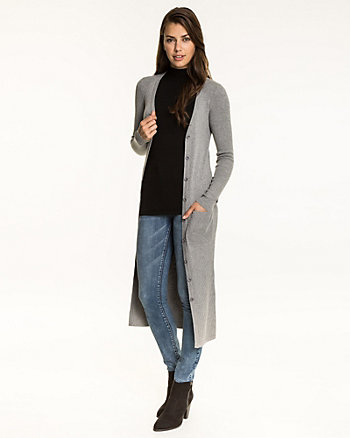 Rib Knit Button-Front Duster