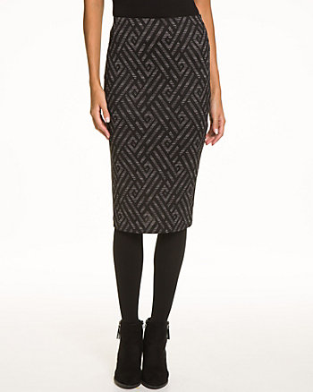 Chevron Print Ponte High Waist Skirt