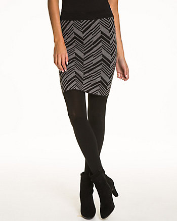 Chevron Cotton & Silk Blend Pencil Skirt