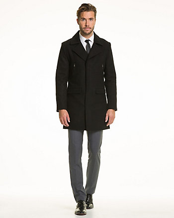 Wool Blend Melton Crombie Coat