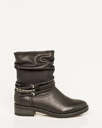 Faux Leather Round Toe Ankle Boot