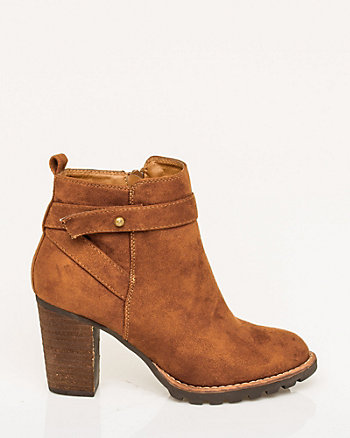 Suede-Like Round Toe Bootie