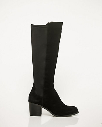 Suede & Lycra Knee-High Boot