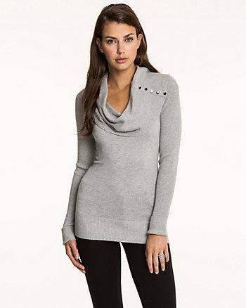 Viscose Blend Cowl Neck Sweater