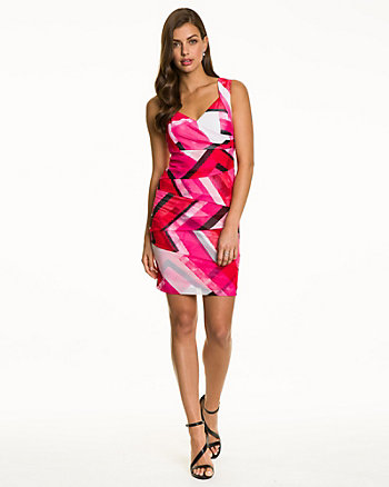 Abstract Print Knit Cocktail Dress
