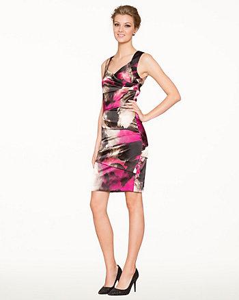 Abstract Print Satin Cocktail Dress