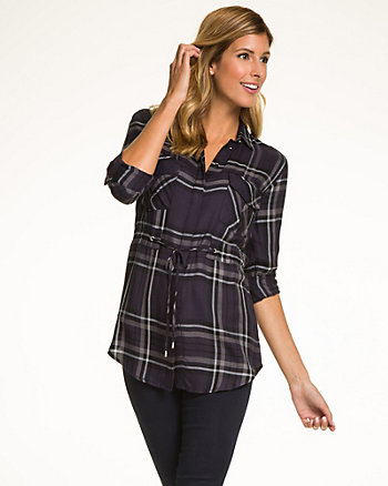 Check Print Twill Button-Front Blouse