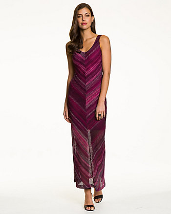 Chevron Print Scoop Neck Maxi Dress