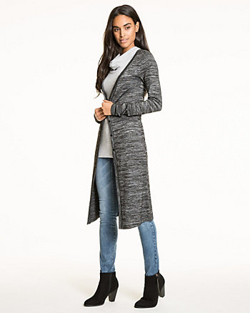 Marled Jersey Button-Front Duster