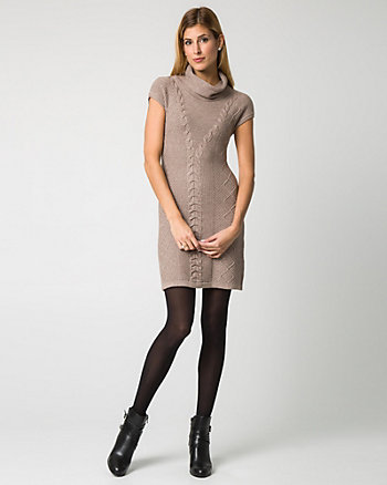 Cable Knit Cowl Neck Sweater Dress
