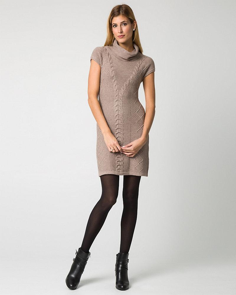 LE CHÂTEAU: Cable Knit Cowl Neck Sweater Dress