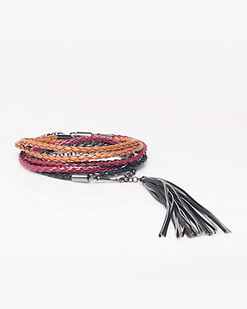 Leather-like Braided Tassel Belt