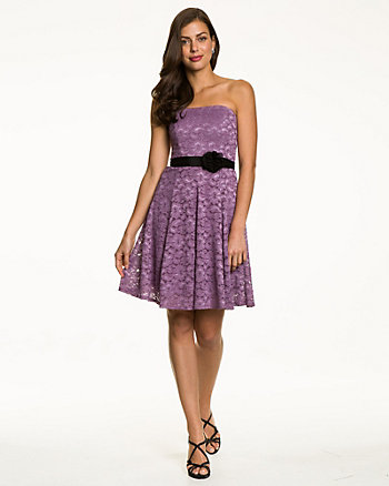 Lace Strapless Cocktail Dress