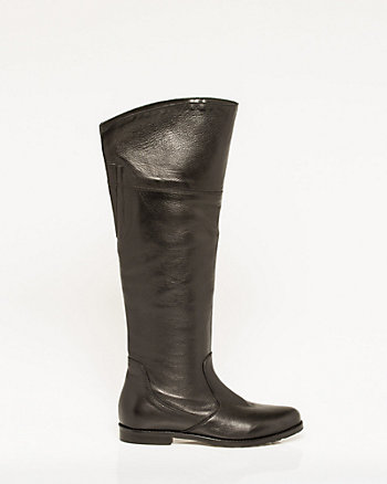Italian-Made Leather Knee-High Boot