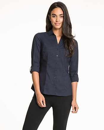 Cotton Poplin Button-Front Blouse