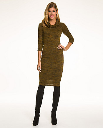 Mélange Knit Cowl Neck Dress