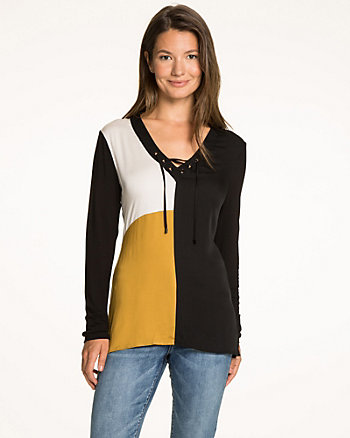 Colour Block Jersey Lace-Up V-Neck Top