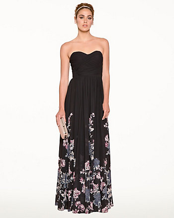 Floral Chiffon Sweetheart Gown