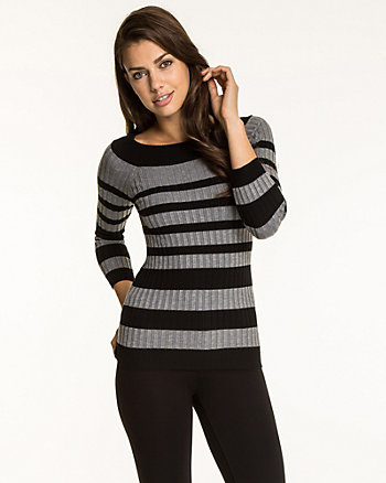 Stripe Knit Boat Neck Sweater