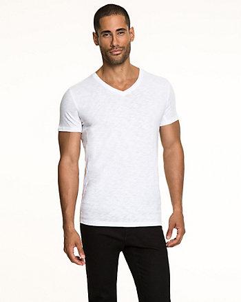 Cotton Slub V-neck T-Shirt