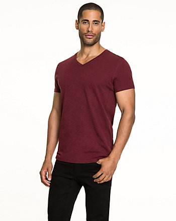 Cotton Slub V-neck T-Shirt